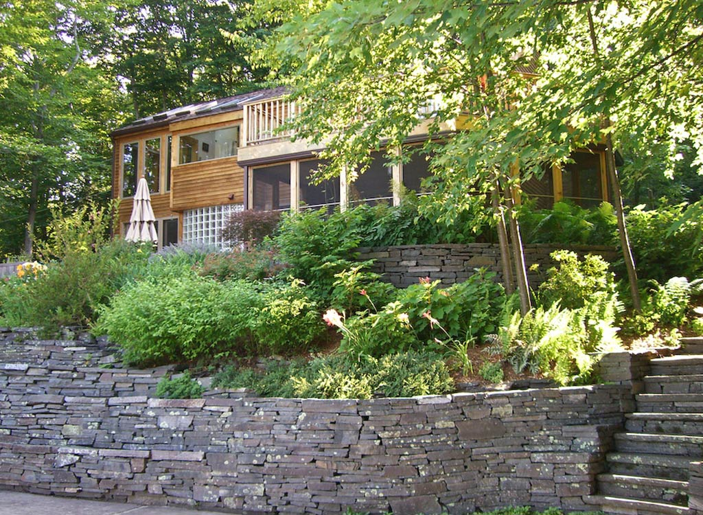 Woodland home and garden in Woodstock, NY
